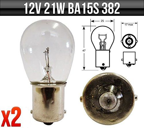 12v 21w SCC BA15s Brake / Indicator / Reverse / Rear Fog Bulbs 382 x 2