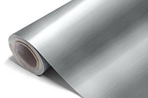 Brushed Aluminium Vinyl Wrap Sticker Roll Film Self Adhesive (48cm x60cm) Silver