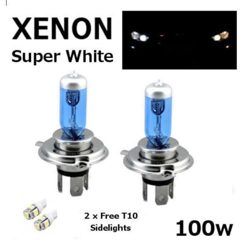 H4 100w SUPERWHITE XENON 472 UPGRADE Headlight Bulbs 12v +501 LED Sidelights