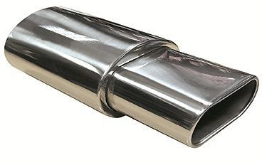 OVAL TIP EXHAUST MUFFLER SQUARE TIP STAINLESS STEEL