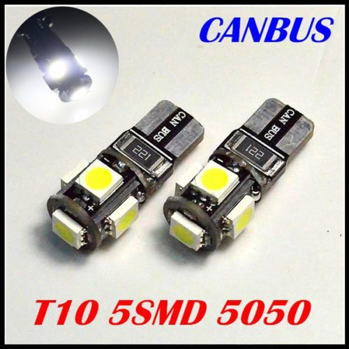 T10 XENON WHITE LED ERROR FREE CANBUS 5 SMD W5W 501 SIDE LIGHT BULB